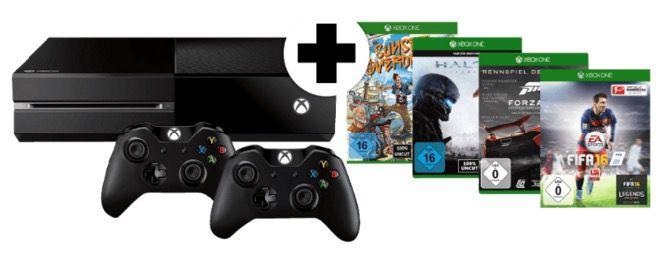 Knaller! Xbox One mit 2 Controllern und 4 Spielen für 355€ (statt 520€)