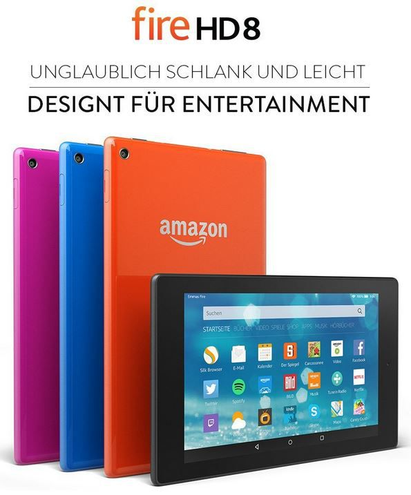 fire HD 8 Kindle Fire HD 8 (8 Zoll) HD Display mit WLAN und 8 GB ab 129,99€