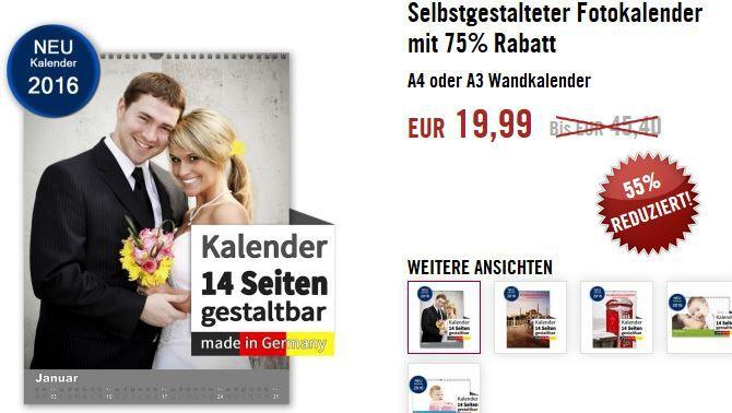 Last Minute Gutschein: 3 Kalender in A4 oder 2 Kalender in A3 für nur 19,99€