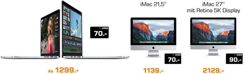 Apple Macs, Macbooks & iPads mit bis zu 90€ Gutschein Cashback bei Saturn