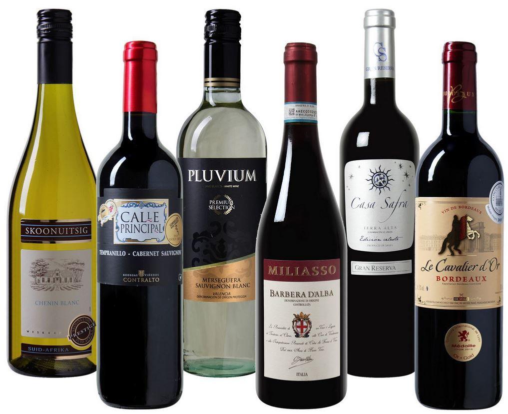 luxus wein Luxus Weinset mit 6 Flaschen aus aller Welt   ideal zum verschenken für nur 19,99€