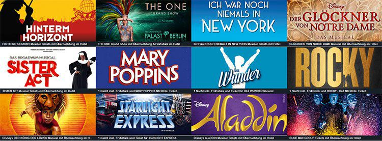 Musicalreisen mit ÜN & Frühstück ab 75€    z.B. Aladdin, König der Löwen, Tarzan uvm.