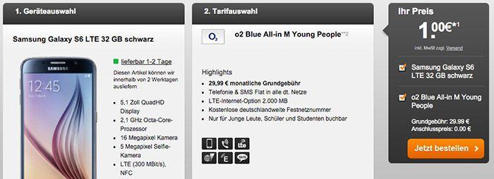 o2 Blue All in M o2 Blue All in M + Galaxy S6 32GB für 29,99€ mtl.