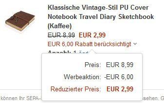 Tagebuch im Vintage Stil für 2,99€ inkl. Versand   Fehler ?