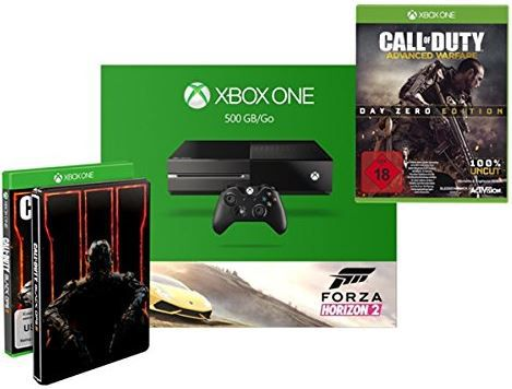 Xbox One Konsole mit 500 GB + Forza Horizon 2 + COD Black Ops III + COD Advanced Warfare  für 333€