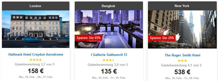 Bangkok Hotel Expedia 72 Stunden Sale: 500Hotels weltweit mit bis zu 65% Rabatt!