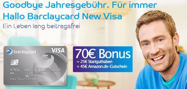 Beitragsfreie Barclaycard New Visa mit 70€ Prämie