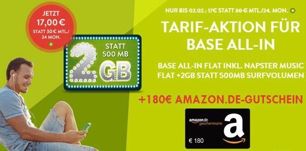 Base Allnet Flat + 2GB für eff. 9,50€ mtl. dank 180€ Amazon Gutschein*