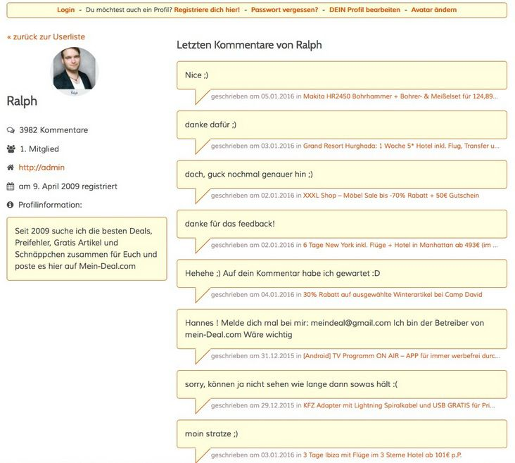 Gewinnspiel   User Profil anlegen   Die Gewinner!