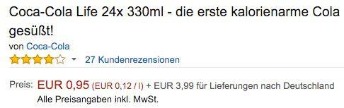 Preisfehler ! Coca Cola Life (24 x 0,33 L) ab 4,94€   ABGELAUFEN!