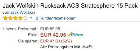 Jack Wolfskin ACS Rucksack 15 Liter für 42,95€ (statt 90€)