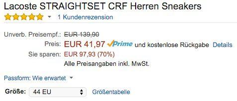 Lacoste Straightset CRF Herren Sneaker für 41,97€ (statt 74€)