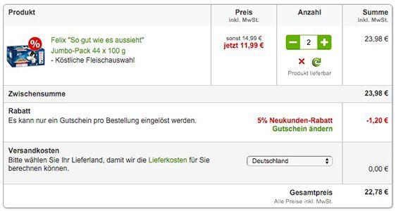 88x Felix Katzen Nassfutter je 100g ab 22,78€ (statt 32€)