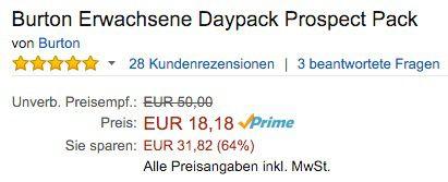 Bildschirmfoto 2016 01 13 um 12.16.07 Burton Daypack Prospect Rucksack 21 Liter ab 18,18€ (statt 33€)