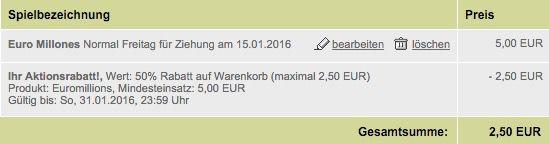 2 Tipps Euro Millions (81 Mio. Jackpot!) für 2,50€   nur Tipp24 Neukunden