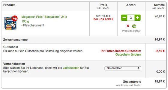 Bildschirmfoto 2016 01 14 um 10.52.47 7,2kg Felix Sensations Katzenfutter Fleisch Mix für 18,87€ (statt 24€)