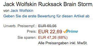 Jack Wolfskin Brain Storm Rucksack mit Notebook Fach ab 22,69€ (statt 40€)