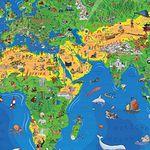 1,95 Meter Kinder Weltkarte XXXL (Edition 2016) + Gratis-Taschen-Atlas + Freizeitkarte für 13,95€