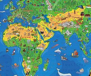 1,95 Meter Kinder Weltkarte XXXL (Edition 2016) + Gratis Taschen Atlas + Freizeitkarte für 13,95€