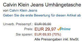 Schnell! Calvin Klein Urban Umhängetasche für 29,97€ (statt 100€)