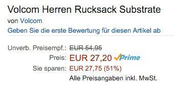 Volcom Substrate Herren Rucksack 26 Liter ab 27,20€ (statt 53€)
