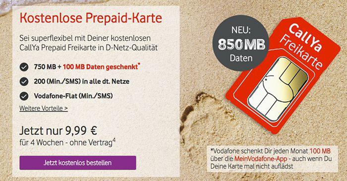 Bildschirmfoto 2016 08 21 um 10.54.05 Vodafone CallYa Prepaid für 9,99€ für 4 Wochen   850MB LTE, 200 Einheiten