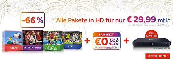 Endet heute! Sky Komplett Angebot mit HD für 29,99€ mtl. + Sky+ Pro Receiver + keine Aktivierungsgebühr