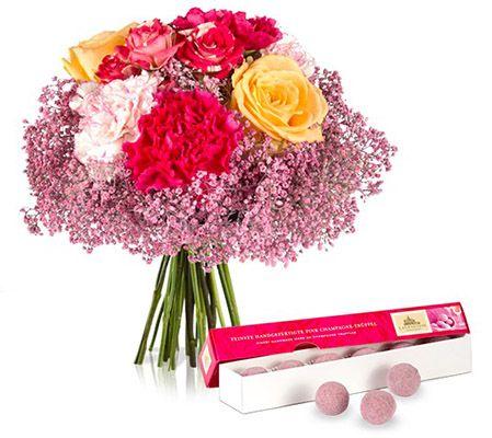 Blumen Valentinstags Blumenstrauß mit 12 Blumen + Pralinen für 22,90€