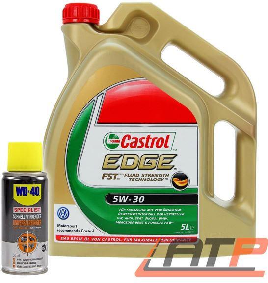 Castrol EDGE FST 5W 30 Motoröl 5 Liter + 1x 50ml WD 40 für 32,90€