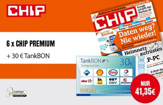 Chip Premium Halbjahresabo für effektiv 11,35€ dank 30€ Tank Gutschein