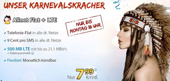 Deutschland sim DeutschlandSIM LTE   Allnet + 500MB (21 Mbit/s) für 7,99€ mtl. kündbar