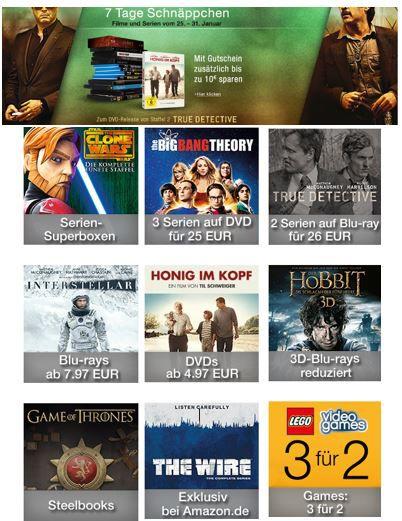 Filme Games und DVDs Games: 3 für 2 und DVDs und Blu rays mit bis zu 10€ extra Rabatt!