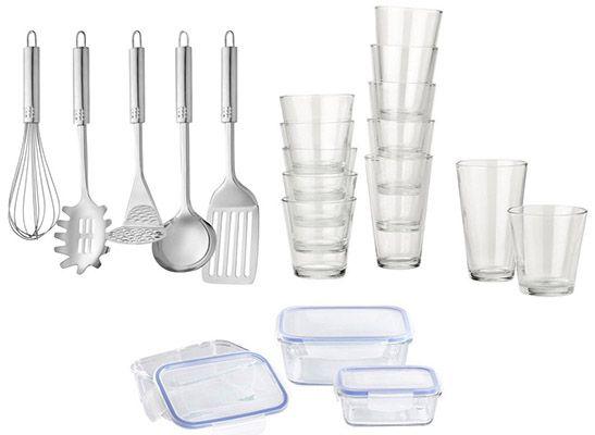Haushalt 12 Gläser + 5 Küchenhelfer + 3 Vorratsdosen für 14,62€