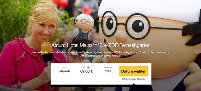 1 2 Nächte im 4* Hotel in Mainz + ZDF Fernsehgarten ab 69€ p.P.
