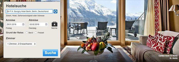 Hotelbuchung Bis zu 12% Rabatt auf Hotels in Skigebieten oder 10% auf fast alle anderen Hotels