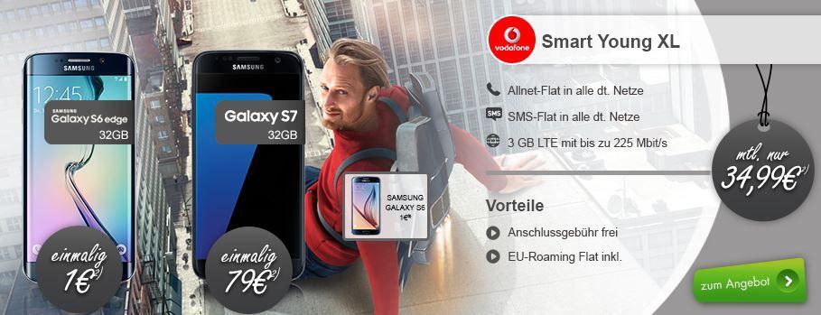Junge Leute Rabatt Apple iPhone 6S + Vodafone junge Leute XL (Allnet SMS Flat + 3,5 GB) für 35€ mtl.