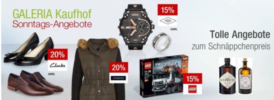 Kaufhof Sonntag Angebote 10% Rabatt auf alle Gins + 15% auf LEGO City und Technic + mehr Galeria Kaufhof Sonntags Deals