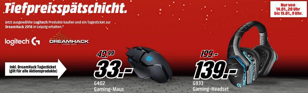 Logitech Gamingprodukte in der Mediamarkt Tiefpreisspätschicht + DreamHack 2016 Tagesticket