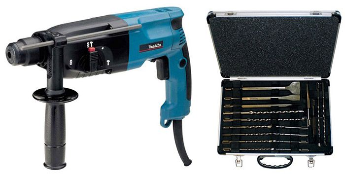 Makita HR2450 Bohrhammer + Bohrer  & Meißelset für 124,89€ (statt 148€)