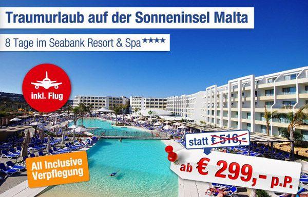 Malta Urlaub 8 Tage Malta im 4* Hotel mit All Inc. und Flügen ab 299€ p.P.