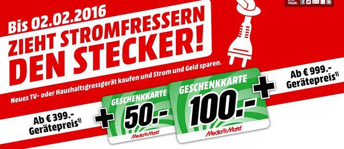 Media Markt Bis zu 100€ Geschenkkarte beim Kauf eines TVs oder Großgerät