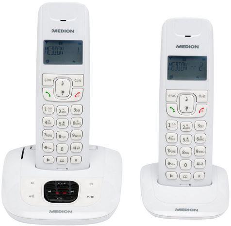 Medion Dect Phone MEDION LIFE E63822 MD 84832   2er Set DECT schnurlos Telefon mit AB für 29,99€