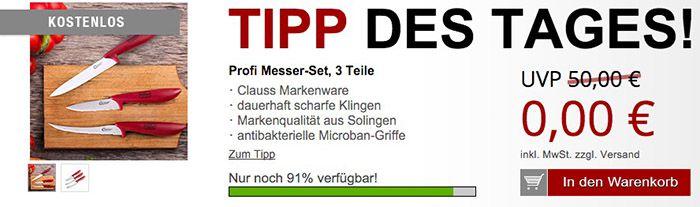 Messer Set 3 teiliges Messer Set und andere Gratis Artikel für 5,97€
