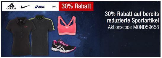 Nike adidas 30% Rabatt auf bereits reduzierte Sportartikel + Wäsche bei den Galeria Kaufhof Mondschein Angeboten