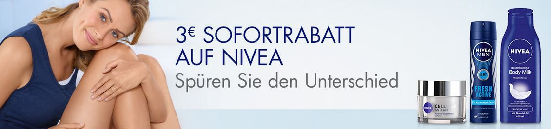 Nivea Gutschein1 Nivea: 3€ Sofortrabatt auf ausgewählte Artikel ab 9€ bei Amazon