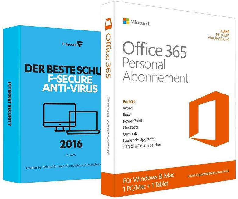 Office Bundle Microsoft Office 365 Personal + F Secure Anti Virus 2016 für 19,90€