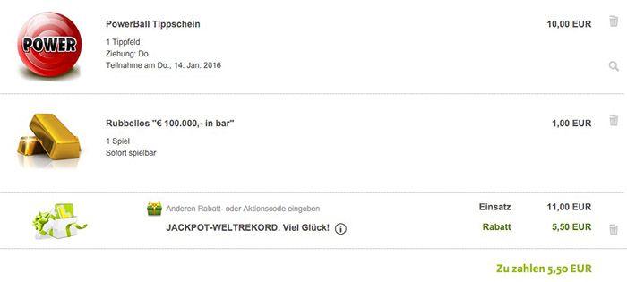 1 Powerball Tipp (1,3 Milliarden Dollar Jackpot!) + 1 Rubbellos für 5,50€
