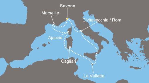 Route Costa Kreuzfahrten im Mittelmeer ab 399€