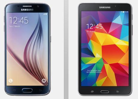 Samsung S6 + Tablet Samsung S6 LTE 32 GB + Tablet 4 7.0 WiFi + Vodafone AllNet Flat mit 1GB (2GB) ab 29,99€ mtl.