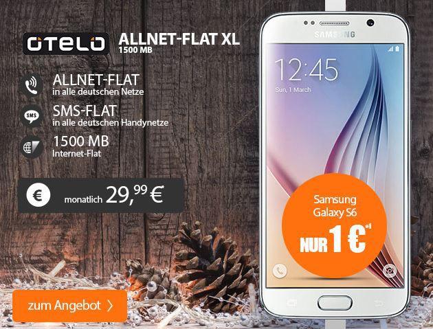 Samsung Galaxy S6 32 GB + Wireless Charger + Otelo AllNet Flat + SMS + 1,5GB Daten für 29,99€ mtl.